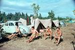 Men, Guys, Volkswagen, VW-Beetle, VW-Bug, Sunburn, Shirtless, Sitting, Tents, 1960s