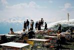 Overlook, overview, tables, tourists, view, snow, Innsbruck, Austria, May 1967, 1960's, RVLV01P04_01.2653