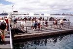 People Boarding, Ferry Boat, dock, Arizona Memorial, Pearl Harbor, Honolulu, Oahu, Battleship, RVLV05P05_03
