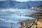 Crowded Beach, Sand, Waves, Pacific Ocean, Marin Headlands