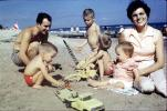 Playing on the Beach, Toys, Woman, Father, son, shirtless, smiles, retro, 1950s, RVLV06P02_02