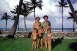 Father, Daughter, Son, Mother, Palm Trees, Beach, summer, 1950's