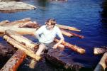 male, man, logs, floating, glasses