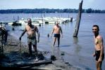 Men, Lake, docks, boats, swimwear, trunks, Illinois, 1968, 1960's