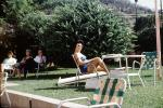 Woman, tanning, chair, resting, glasses, 1960's