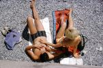 Sunburn, Sun Worshippers, Woman, Man, Trunks, Bikini, Beach, Tanning, Suntan, Nice, France, 1960s