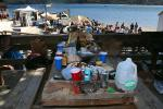 Picnic Table, Cans, Bottles, drinks, food, Tomales Bay, Marin County, California, RVPD01_013