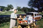 Man, Women, Ford Fairlane Station Wagon, Picnic, car, automobile, vehicle, 1957, 1950s, RVPV01P01_01