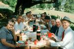 Group eating at a picnic table, thermos bottles, Men, Women, crowd, 1950s, RVPV01P04_10