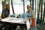 Woman, Man, Lakeside, Table, Smiles, Necklace, Pitcher, Setting, Tablecloth, 1950s, RVPV01P08_13