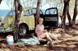 Volkswagen, Woman, Roadside, Summertime, car, automobile, vehicle, 1960s, RVPV01P09_11