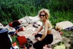 Woman in Bra at a Picnic, smoking, RVPV01P10_10