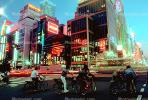 Crosswalk, Highrise Buildings, shops, night, nighttime, neon, Ginza District, Tokyo, SBYV03P01_07.2662