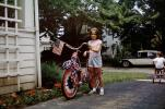 Girl and her Patriotic Bicycle, Driveway, car, July 4 1965, 1960s, SBYV03P05_06