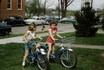 Neighborhood Kids on their Bicycles, Suburbia, Cars, Girls, Basket, 1950s