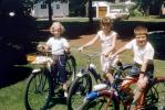 Neighborhood Kids on their Bicycles, Suburbia, Ford Car, Girls, Boy, Smiles, 1950s