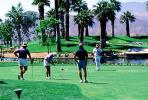 putting green, trees, golfers, lake, Palm Springs