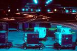 carts, baggage tractor, night, Exterior, Outdoors, Outside, Nighttime, TAAV07P03_01