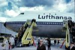 D-ABYC, Disembarking Passengers, Boeing 747-130, Lufthansa, Stair Truck, Ground Equipment, 747-100 series, October 1970, 1970's, JT9D-7A, JT9D, TAAV14P13_15