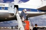 Stewardess, Disembarking Passengers, Flight Attendants, ramp stairs, Douglas DC-8, 1960s, TAAV14P14_04