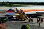 Boeing 727, Continental Airlines COA, Cancun, Disembarking Passengers, Mobile Stairs, steps, pickup truck, Rampstairs, ramp, TAFV05P14_07