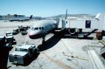 United Airlines UAL, Boeing 757, pushback, tow tractor, (SFO), jetway, Airbridge, TAFV16P04_09