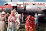 Convair CV-340, Hawaiian Air HAL, Lei, Passengers boarding, 1950s, Fleet Number 30, TAFV25P09_08