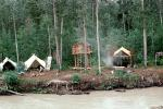 tents, house on stilts, log cabin, Tanana River, Fairbanks, TSFV04P07_10