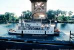 waterfront, paddle wheel steamboat on the Sacramento River, Old Town, Tower Bridge