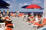 Lounge Chairs, Umbrellas, teak wood, Sun Deck, Stella Oceanis, Vittoria, Docks, Cruise Ship, IMO: 6413170, 1972, 1970s, TSPV05P12_19