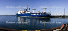 MV Pacific Collector, DOD Missile Defense Agency's Missile Instrumentation Ship, Radio Dish, Communications, Dock, Panorama, IMO: 7738474
