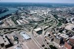 Semi-directional T-Bone Interchange, Interstate Highway I-75, I-71, Maze, tangle, overpass, underpass, intersection, freeway, highway, exit, entrance, entry, Cincinnati, skyline, urban, VARV03P04_03