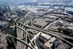 Interstate Highway I-75, I-71, Maze, tangle, overpass, underpass, intersection, interchange, freeway, highway, exit, entrance, entry, Downtown Cincinnati, skyline, urban, VARV03P04_06