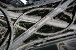 Four-way interchange, Three-level Cloverstack Interchange, Interstate Highway I-405 interchanges with Costa Mesa Freeway, cars, traffic, freeway, VARV03P09_07