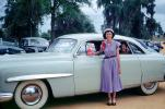 Woman, Dress, Hat, Whitewall Tires, Car, Sedan, Vehicle, Lincoln, Ford, April 15 1952, 1950's, VCRV02P01_11