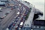 the Embarcadero, Loma Prieta Earthquake, Level-F traffic, 1989, (note the lack of electricity), 1980's, VCRV06P10_01