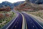 dashed lines, Interstate Highway I-15, Road, Roadway, Northwestern Arizona, vanishing point, VCRV11P03_09