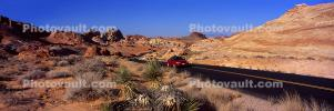 Valley of Fire, east of Las Vegas Nevada, Road, Roadway, Highway, Cars, automobiles, vehicles, Panorama