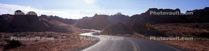 Valley of Fire, east of Las Vegas, Nevada, Road, Roadway, Highway, Panorama, S-Curve, S-Turn