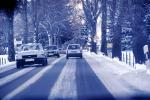 Road, Street, Tree Lined Road, Snow, Ice, Winter, Cars, Automobiles, Vehicles, 1970s, VCRV20P15_02