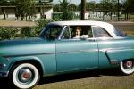 1954 Ford Crestline, two-door coupe, car, smiling woman, Little Rock Arkansas, 1950's, VCRV21P15_16