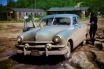 1951 Ford Custom Club Coupe, Mud, Muddy, dirty, Pumping Gas, Steamboat Mountain, 1950s, VCRV22P08_05