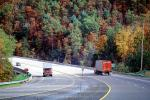 Fall Colors, Autumn, Deciduous Trees, Woodland, Highway-28, near Bryson City, Semi-trailer truck, Semi, VCTV03P06_08