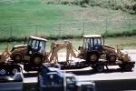 back hoe, Denver, Interstate Highway I-25, flatbed trailer, Digger, VCTV04P12_16