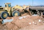 Articulated Front Loader, Train accident near Kingman, Arizona, caused by flash flooding, daytime, daylight, VRAV01P13_01