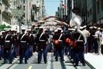 USMC Marching Band, tuba, downtown, downtown-SF, Powell Street at Union Square, CC celebration June 21 1984, 1980's, VRCV01P03_13