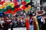Rainbow Flag, top hat, downtown-SF, clowns, balloons, crowds, Powell Street at Union Square, CC celebration June 21 1984, 1980's, VRCV01P03_16
