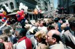 Hoards, Packed People, Crowds, Celebration, Downtown, Throngs, downtown-SF, Powell Street at Union Square, CC celebration June 21 1984, 1980's, VRCV01P04_09