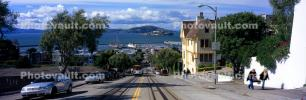 Cable Cars, Russian Hill, Hyde Street, Panorama, incline, VRCV02P10_01