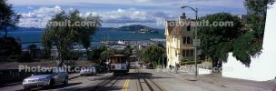 Cable Cars, Russian Hill, Hyde Street, Panorama, incline, Angel Island, VRCV02P10_02